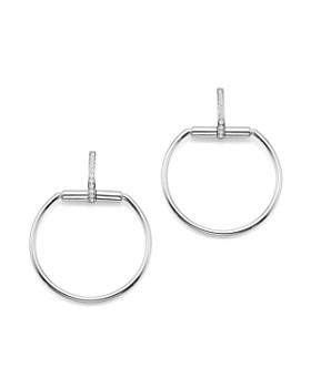 Roberto Coin - 18K White Gold Classic Parisienne Diamond Medium Round Earrings