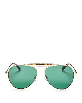 NARA 60MM AVIATOR SUNGLASSES - BROWN TORTOISE/ OLIVE LENS
