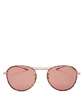 Oliver Peoples - Women's Cade Brow Bar Mirrored Aviator Sunglasses, 51mm