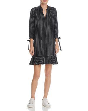 Derek Lam 10 Crosby Striped Tie-Sleeve Dress