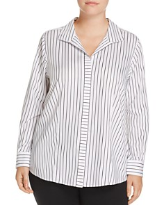 Foxcroft Plus Annie Directional Stripe Blouse - Bloomingdale's_0