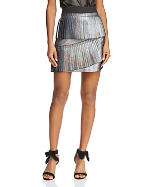 Parker Joss Metallic Ruffled Mini Skirt