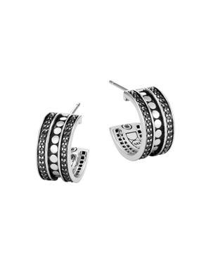 John Hardy Sterling Silver Dot Small Hoop Earrings with Black Spinel