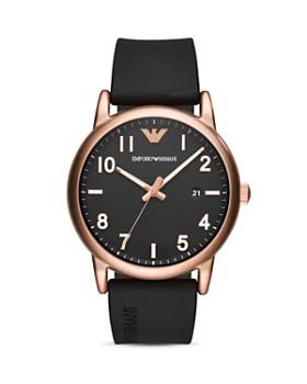 Emporio Armani - Three Hand Black Rubber Watch, 43 mm