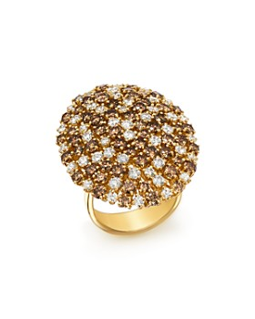 Roberto Coin - 18K Yellow Gold Brown & White Diamond Cluster Ring