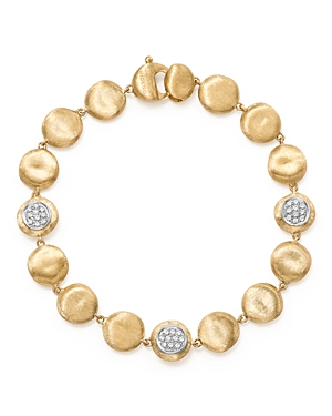 Marco Bicego 18K Yellow Gold Diamond Pave Jaipur Link Small Beaded Bracelet