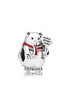 PANDORA Charm - Sterling Silver & Enamel Christmas Polar Bear - Bloomingdale's_0