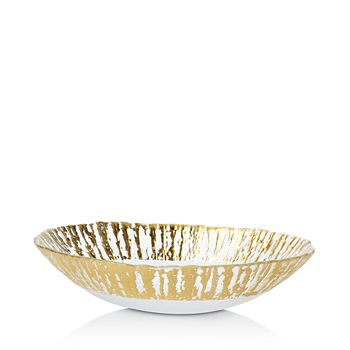 VIETRI - Rufolo Glass Gold Medium Oval Serving Bowl
