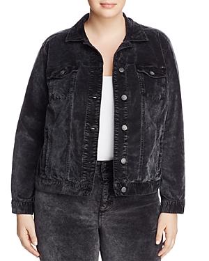 Lucky Brand Plus Denim-Style Velvet Jacket