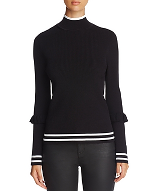 Marled Track Stripe Ruffle Trim Sweater