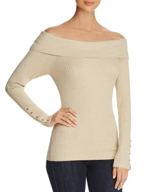 MARLED RIBBED OFF-THE-SHOULDER SWEATER