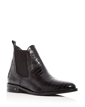 Freda Salvador - Women's Sleek Croc-Embossed Leather Chelsea Booties