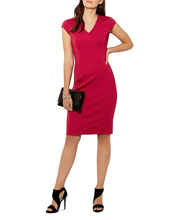 KAREN MILLEN - V-Neck Cap-Sleeve Pencil Dress