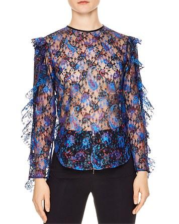 $Sandro Benate Printed Lace Top - Bloomingdale's