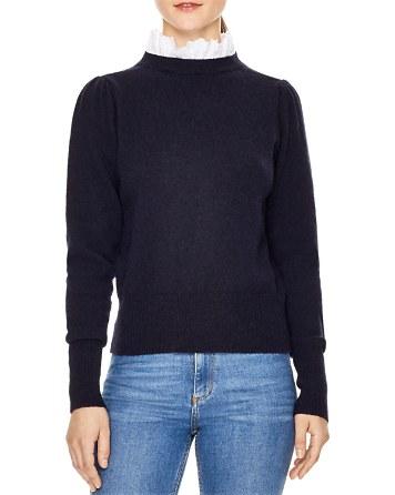 $Sandro Stevy Ruffle Trim Sweater - Bloomingdale's