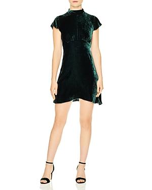Sandro Golden Velvet Mini Dress