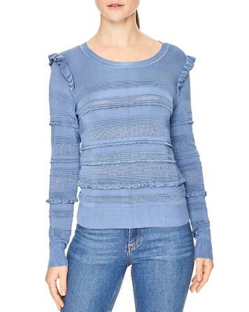 $Sandro Barbo Ruffle Trim Sweater - Bloomingdale's