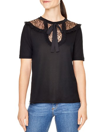 $Sandro Sandy Lace-Inset Tee - Bloomingdale's