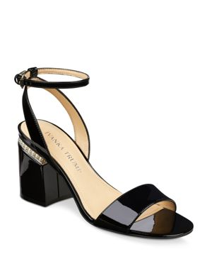 IVANKA TRUMP WOMEN'S ANINA PATENT LEATHER ANKLE STRAP SANDALS