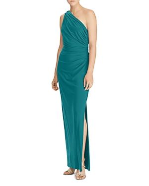 Lauren Ralph Lauren One Shoulder Ruched Gown with Brooch