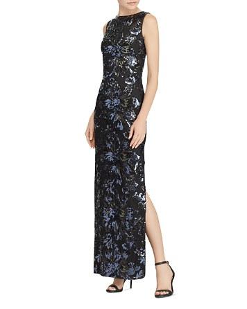$Lauren Ralph Lauren Sequin Floral Mesh Gown - Bloomingdale's