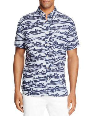 Surfsidesupply Linen Waves Short Sleeve Button-Down Shirt