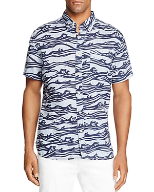 Surfsidesupply Linen Waves Short Sleeve Button-Down Shirt