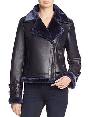 Kenneth Cole Faux Shearling Moto Jacket