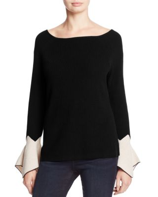 $NIC+ZOE Crystal Contrast Cuff Bell Sleeve Sweater - Bloomingdale's