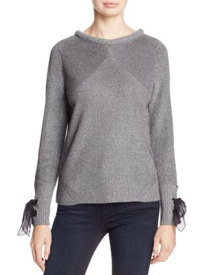 $NIC+ZOE Metallic Muse Lace-Up Cuff Sweater - Bloomingdale's