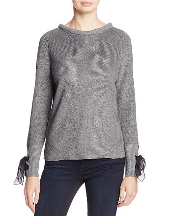 NIC and ZOE - Metallic Muse Lace-Up Cuff Sweater