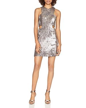 Halston Heritage V-Neck Cutout Sequined Dress