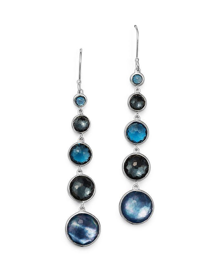 IPPOLITA - Sterling Silver Lollipop Lapis Triplet, London Blue Topaz & Hematite Earrings in Eclipse