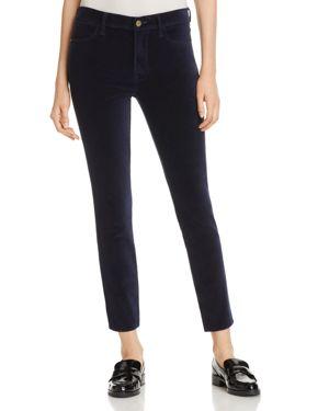Frame Le Velveteen Straight-Leg Jeans in Navy