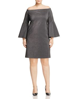 Vince Camuto Plus Metallic Off-the-Shoulder Bell Sleeve Dress