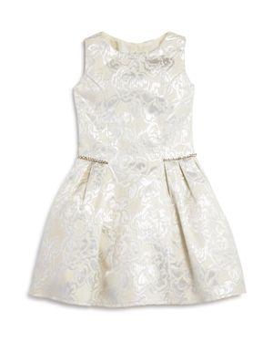Us Angels Girls' Metallic Floral Brocade Dress - Little Kid 2741054
