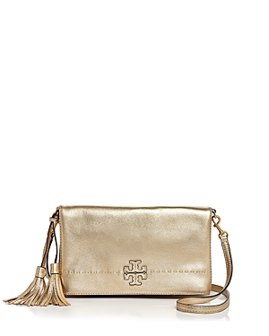 Tory Burch Mcgraw Metallic Leather Crossbody