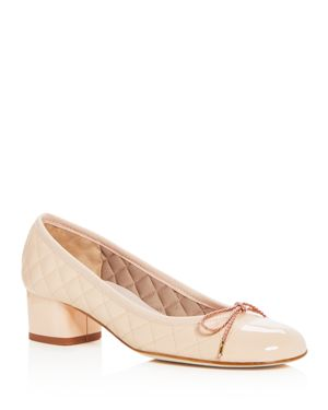 PAUL MAYER Women'S Titou Quilted Leather Block-Heel Pumps in Orleans Beige