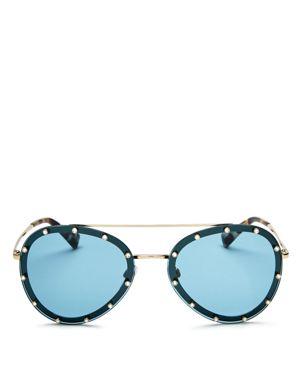 Valentino Embellished Aviator Sunglasses, 58mm