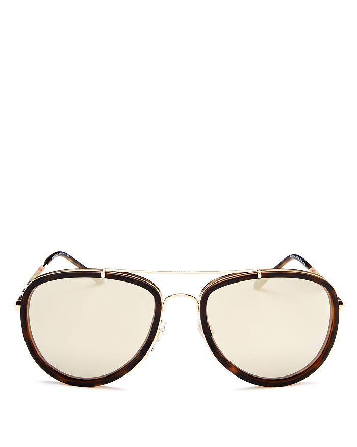 Burberry - Men's Mirrored Brow Bar Aviator Sunglasses, 56mm