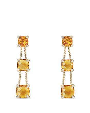 David Yurman - Chatelaine® Linear Chain Earrings with Lemon Citrine & Diamonds in 18K Gold