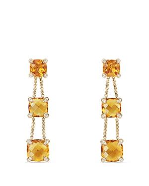 David Yurman Chatelaine Linear Chain Earrings with Citrine & Diamonds in 18K Gold