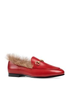 Gucci - Women's Jordaan Leather & Lamb Fur Loafers