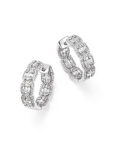Bloomingdale's - Diamond Round & Baguette Hoop Earrings in 14K White Gold, 2.0 ct. t.w. - 100% Exclusive