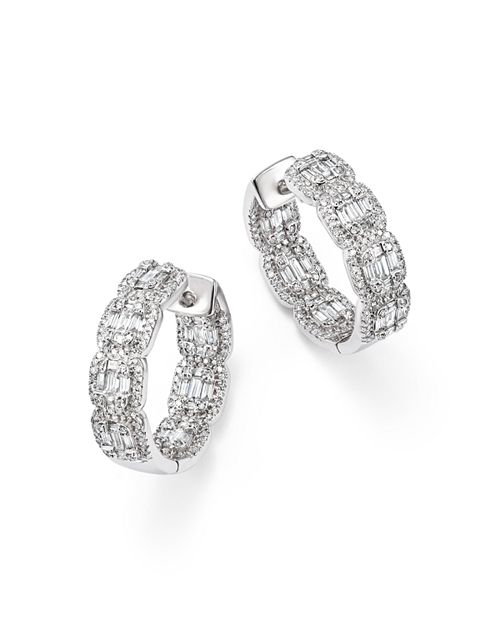 Bloomingdale S Diamond Round Baguette Hoop Earrings In 14k White Gold 2 0 Ct