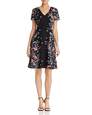 Adrianna Papell Printed Scuba Fit-and-Flare Dress