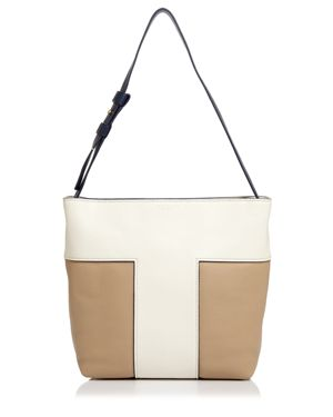 Tory Burch Block-t Color-Blocked Pebbled Leather Hobo