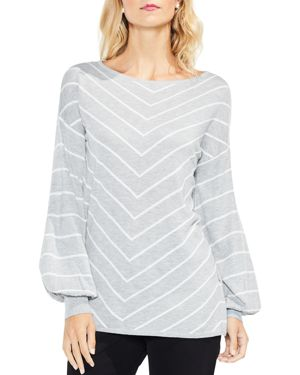 Vince Camuto Chevron Stripe Bishop Sleeve Sweater
