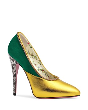 Gucci - Women's Peachy Embellished Leather & Suede Pumps