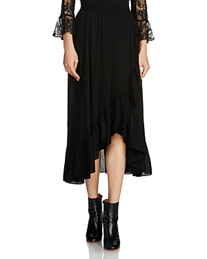 Maje Jonala Ruffled Midi Skirt